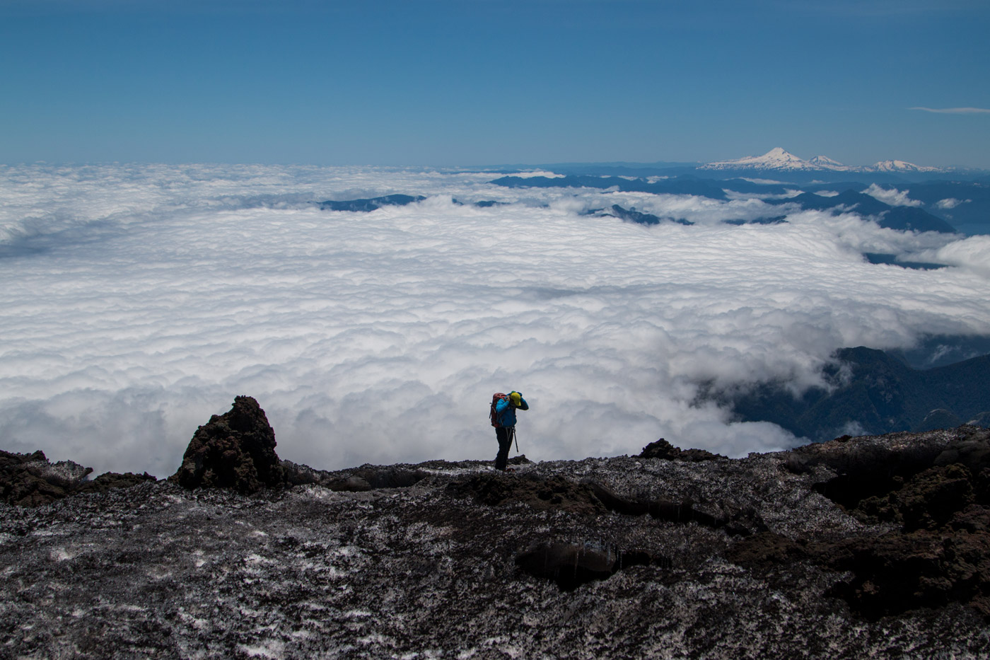 High above the clouds, approaching the top of Villarrica volcano