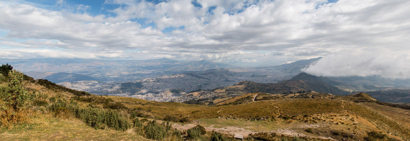 Looking down to Quito from the mountains