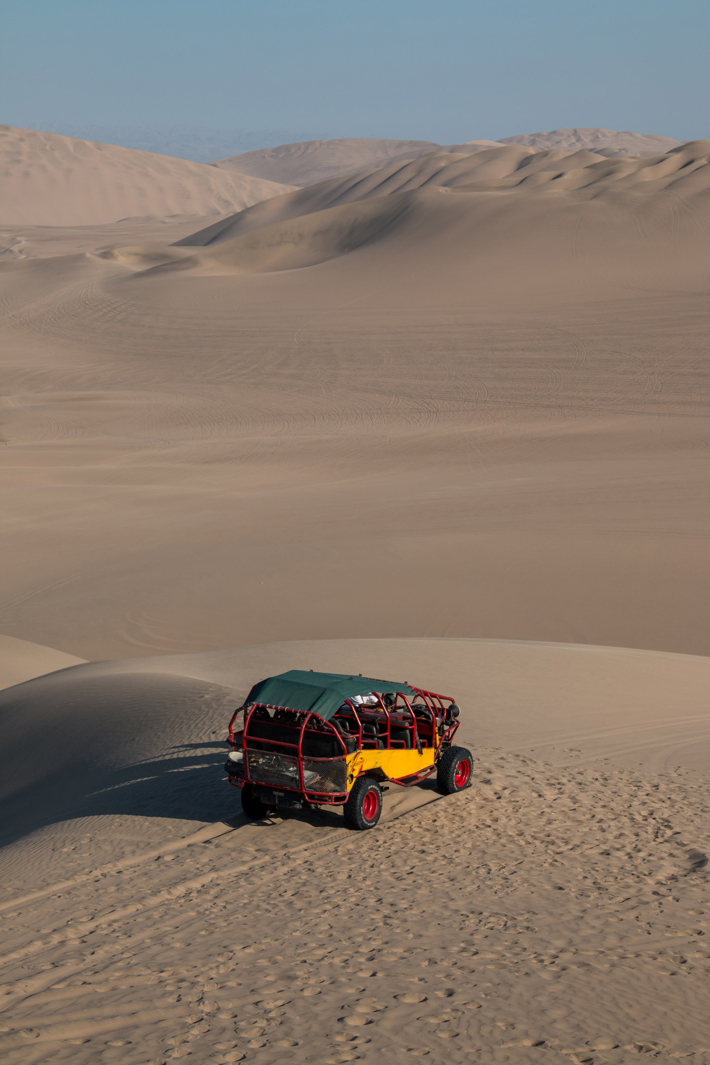 Our buggie parked on top of a dune
