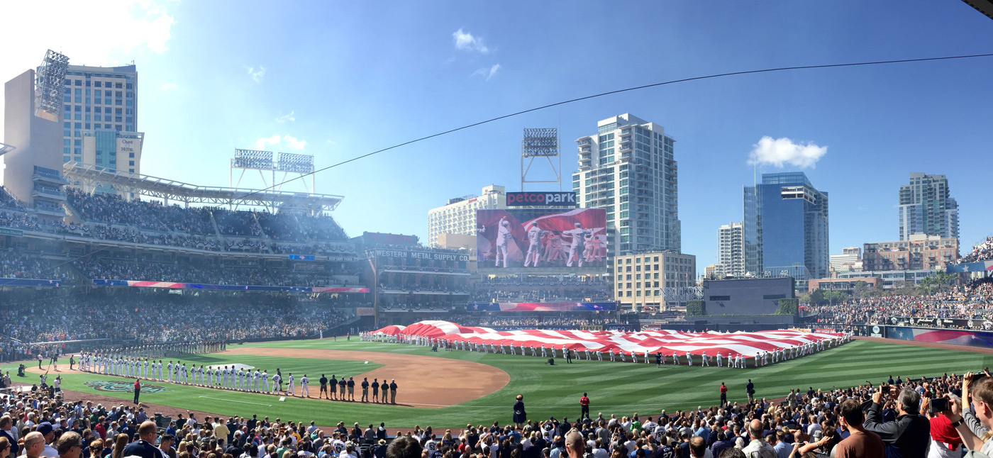 Opening Day, sellout crowd. Giants vs Padres at Petco Park
