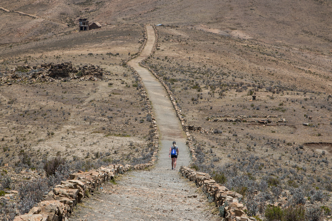 Walking across Isla del Sol
