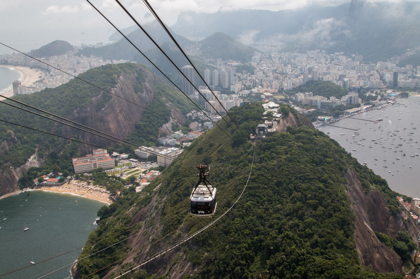 Cable car making its way up Sugarloaf Mountain