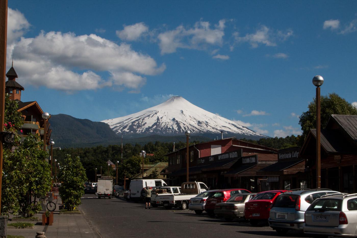 Villarrica volcano from town