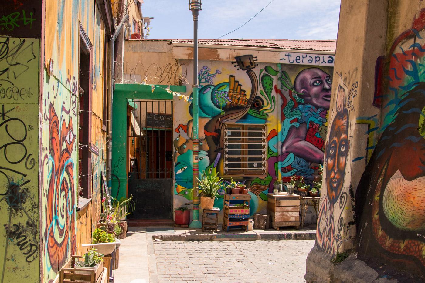 Colourful laneways of Valparaíso