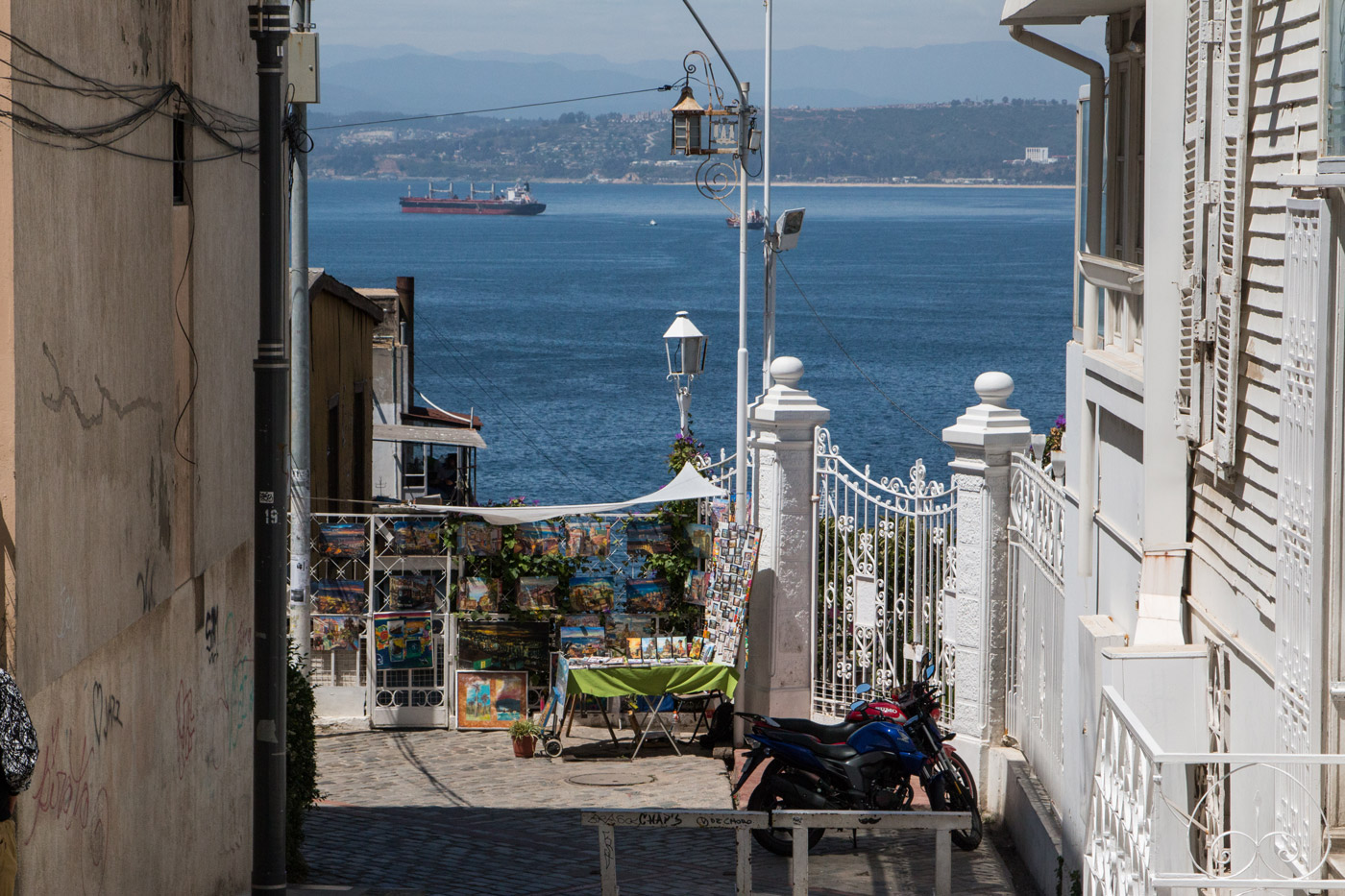 Looking down to the sea from the hillside neighbourhoods