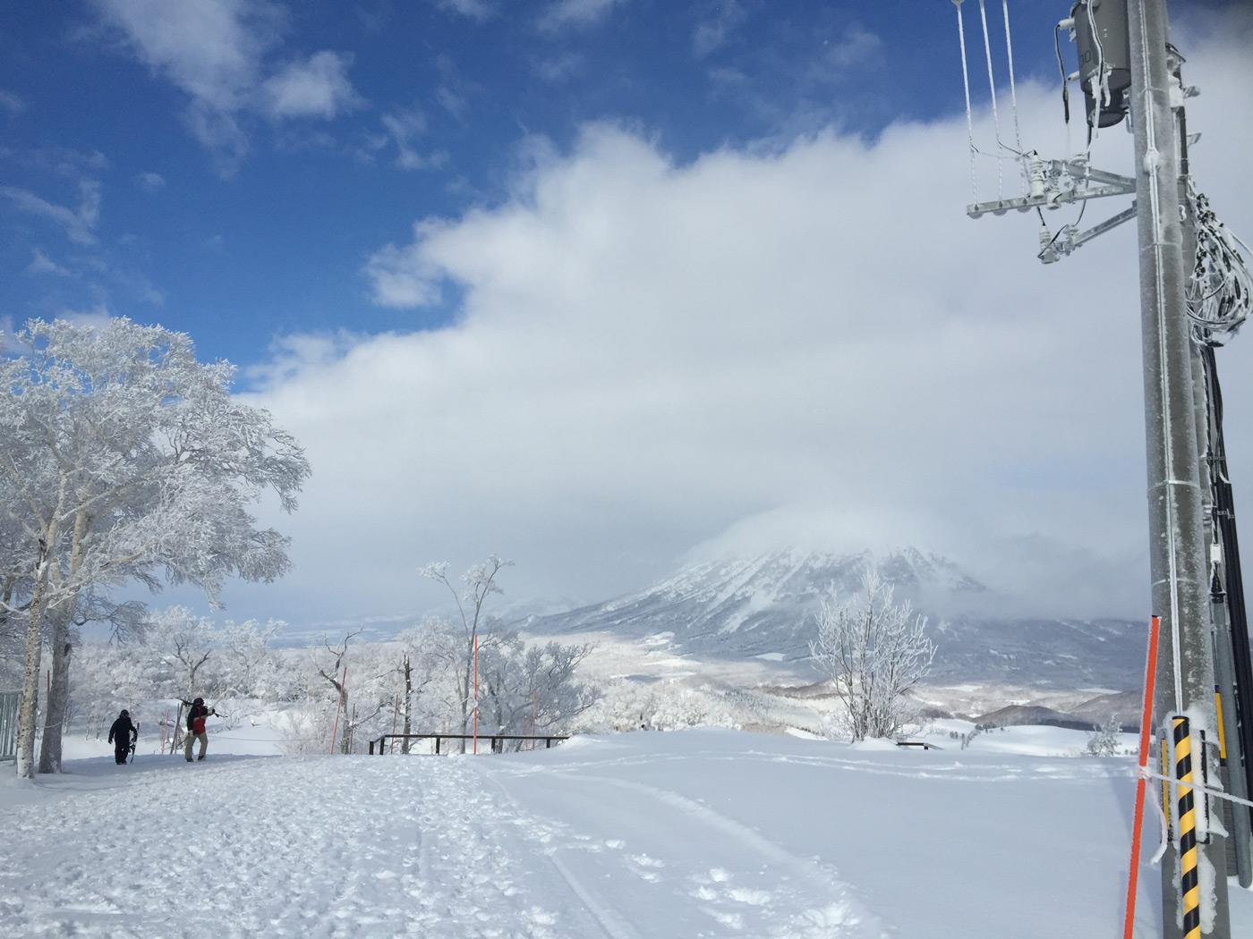 Mt Yotei coming through the clouds at Rusutsu