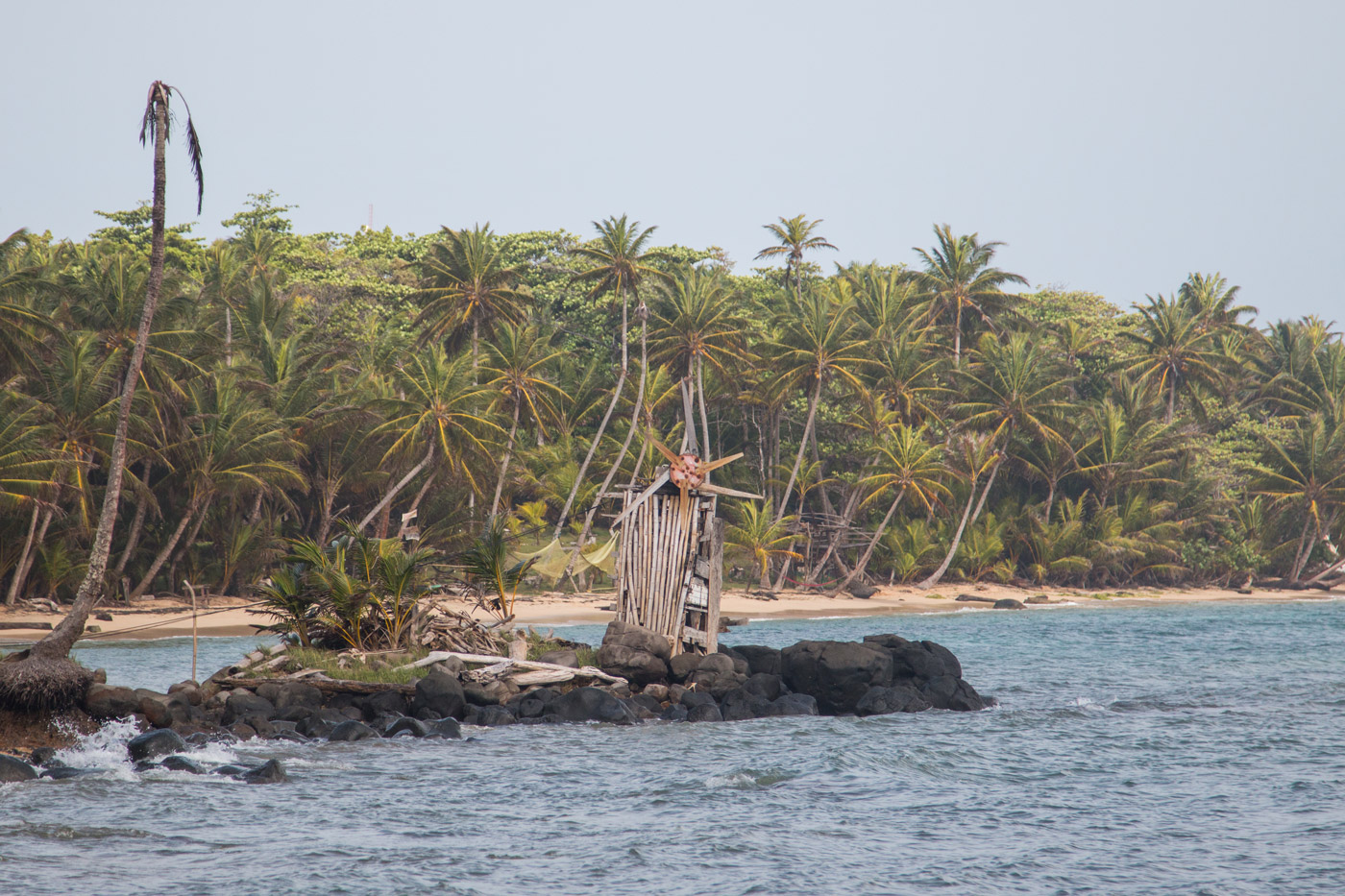 Homemade windmill generating electricity for a remote part of the island