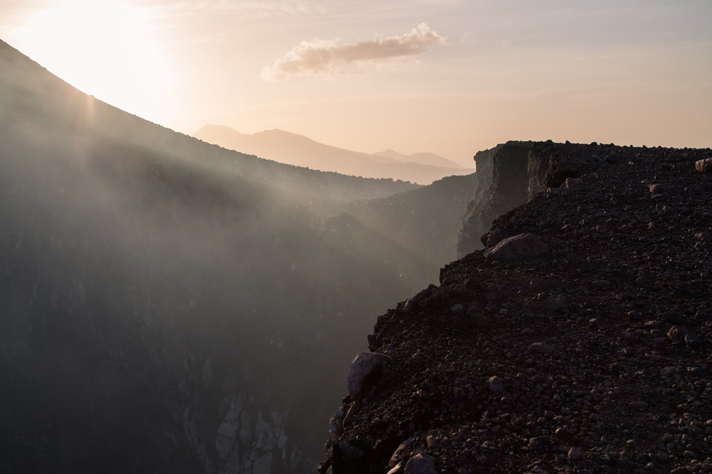 On the edge of the crater