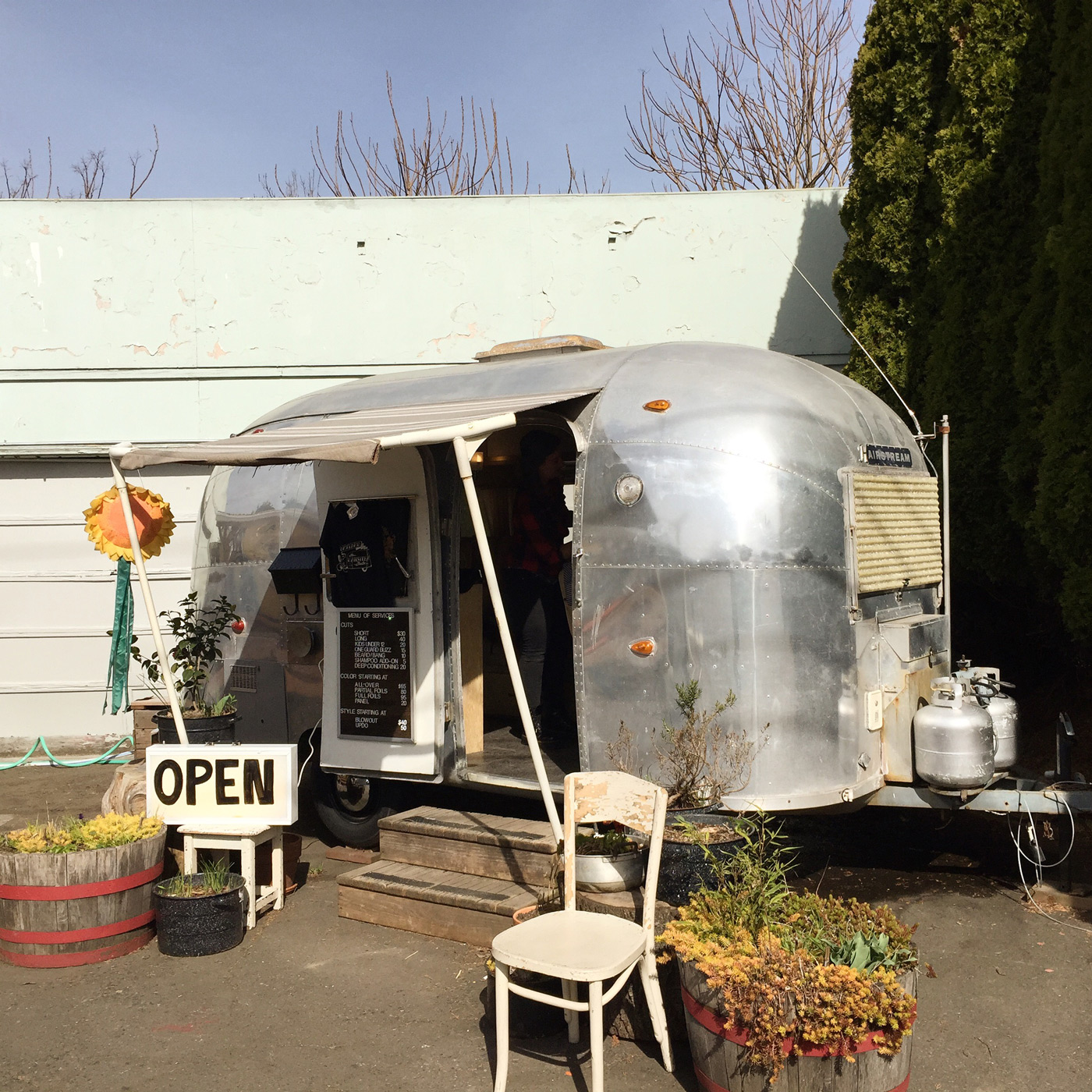 Haircuts in an airstream trailer