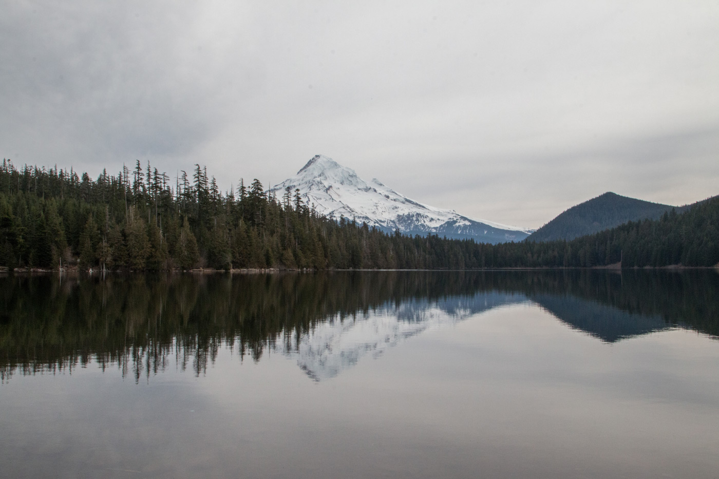 Lost Lake - Snow capped mountain reflections